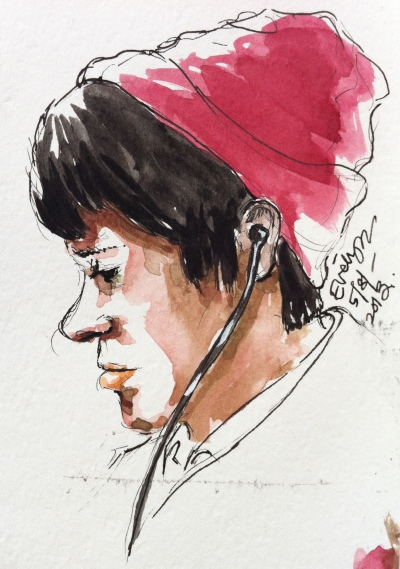 Drawing of boy in red beanie