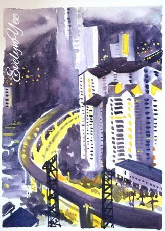 kuala lumpur city sketch by evelyn yee