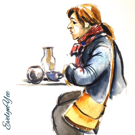 lady at cafe by evelynyee