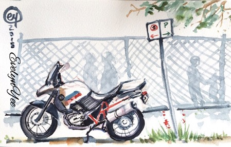 motorcycle sketch by Evelyn Yee
