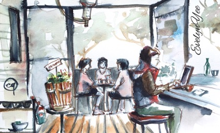 Cafe sketch by evelyn yee