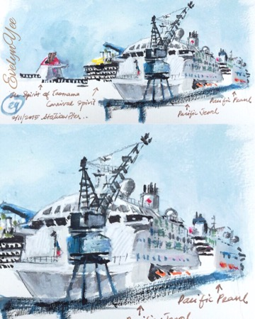 Cruise ships at Station Pier by Evelyn Yee