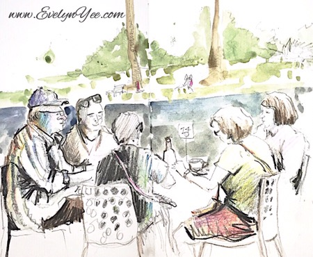 cafe sketching by evelyn yee
