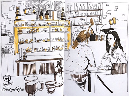 cafe sketch by evelynyee