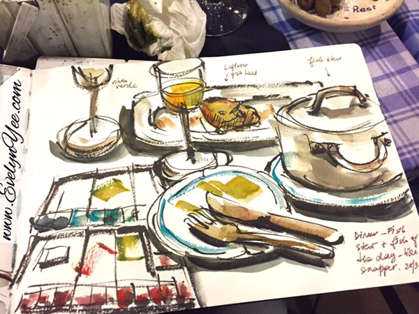 Portuguese dinner sketch by evelyn yee