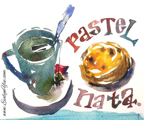 Portuguese tart sketch by evelyn yee