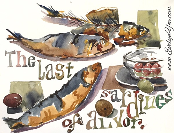 Portuguese sardines sketch by evelyn yee