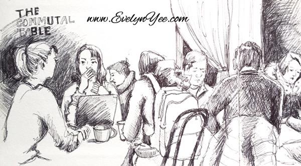 Sketching people in ink by Evelyn Yee