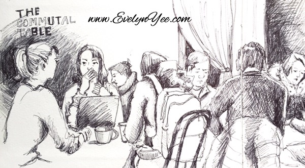 Sketching people in ink by Evelyn Yee