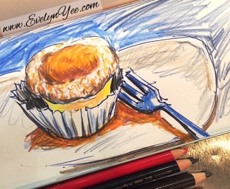 flourless orange cake sketch by evelyn yee