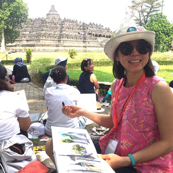 Borobudur painting with Evelyn Yee