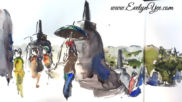 Borobudur watercolor by Evelyn Yee