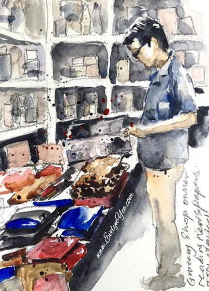 Market scene in Malaysia by Evelyn Yee