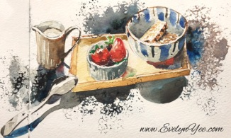 Breakfast in watercolour by Evelyn Yee