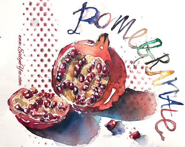 Pomegranate watercolour by Evelyn Yee