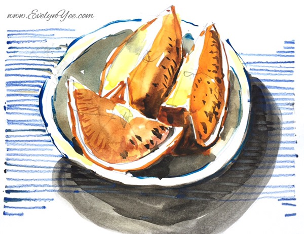 Orange slices watercolour by Evelyn Yee