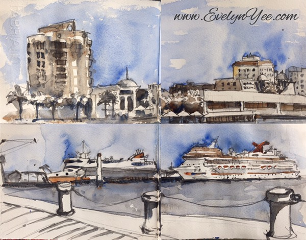 Port Melbourne watercolour by Evelyn Yee