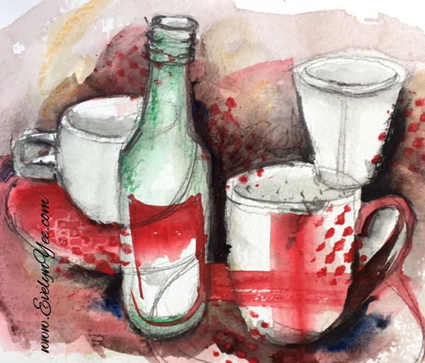 Abstract bottles and cups by Evelyn Yee