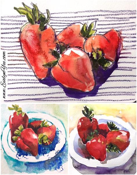 Strawberries sketch by Evelyn Yee
