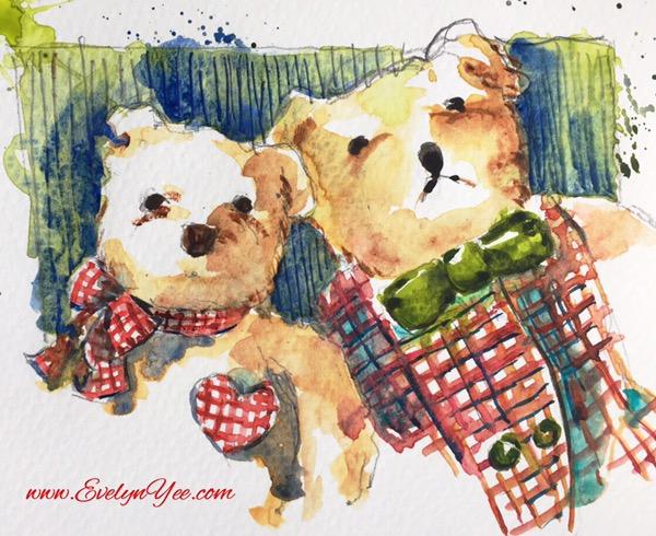 Christmas teddy bears watercolour by Evelyn Yee