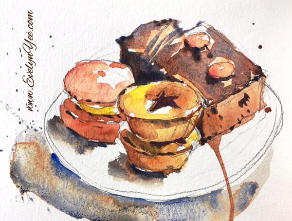 Food sketch by Evelyn Yee