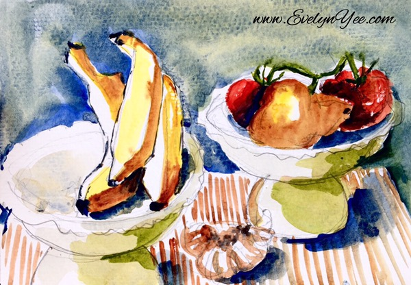 Fruits sketch by Evelyn Yee