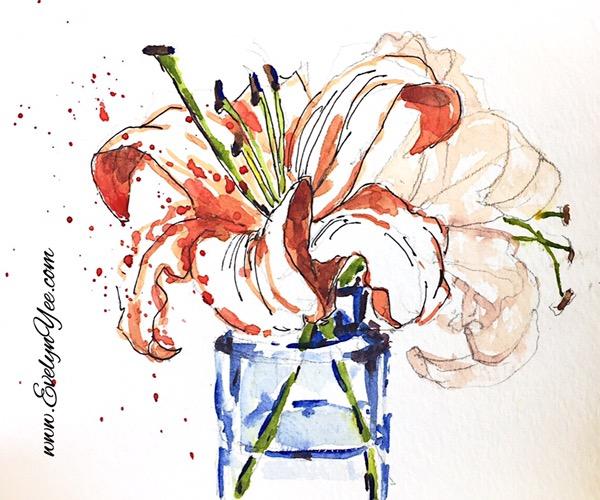 Flower sketch by Evelyn Yee