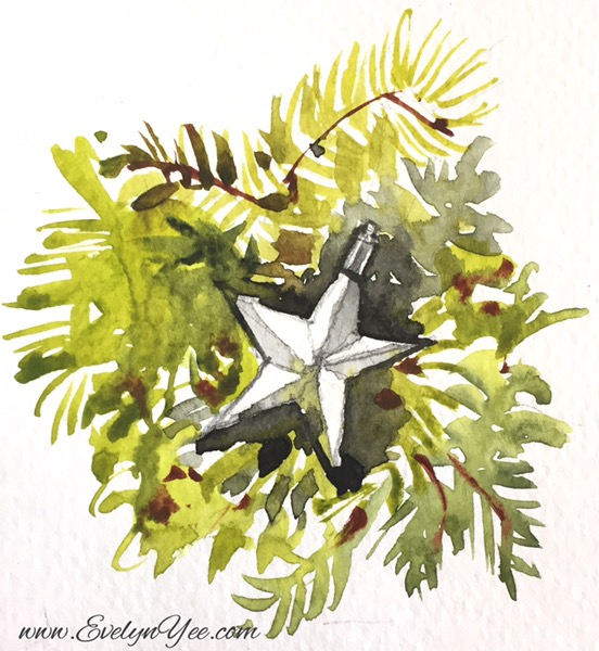 Christmas star watercolour by Evelyn Yee