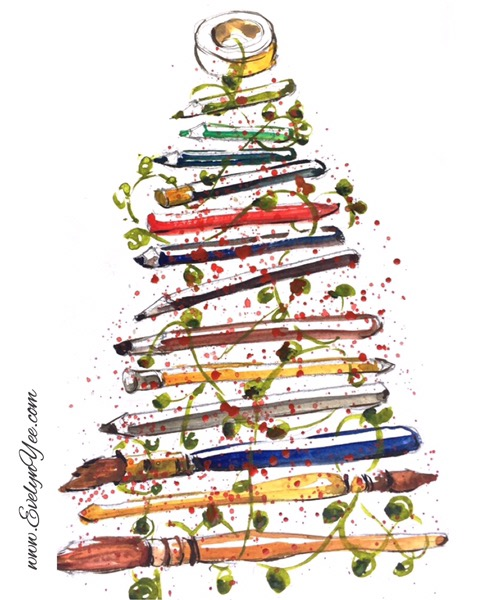 Christmas tree watercolour by Evelyn Yee