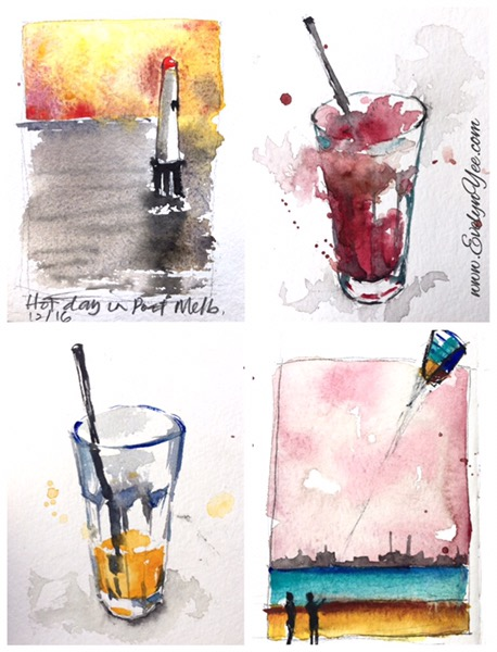 Melbourne in watercolour by Evelyn Yee