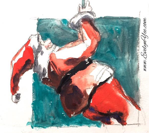 Santa watercolour by Evelyn Yee