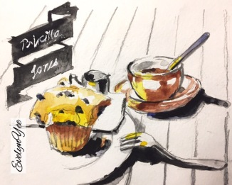 Coffee and muffin watercolour by Evelyn Yee