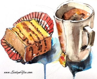 Coffee and cake watercolour by Evelyn Yee