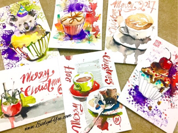 Christmas postcards by Evelyn Yee