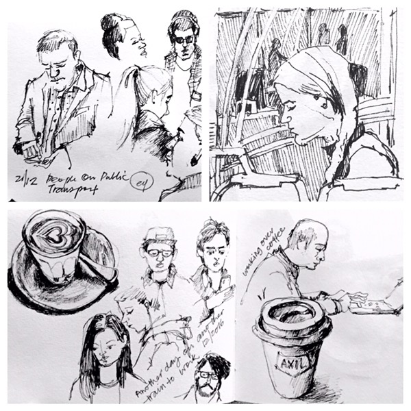 Commuting sketches by Evelyn Yee