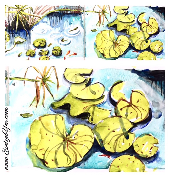 Waterlilies in watercolour by Evelyn Yee