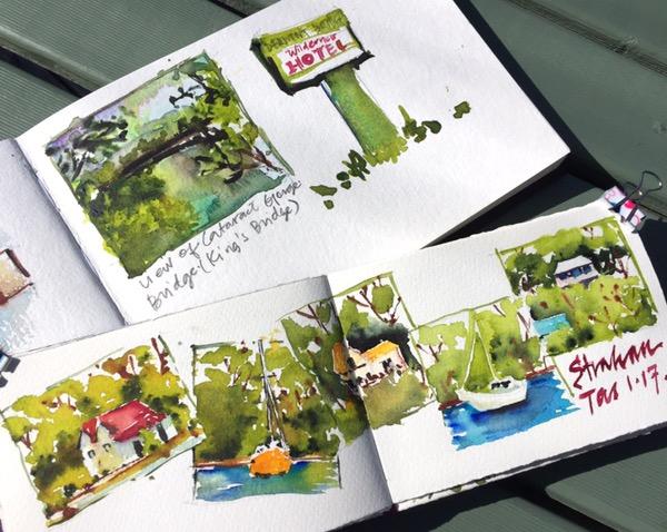 Tasmania sketches by Evelyn Yee