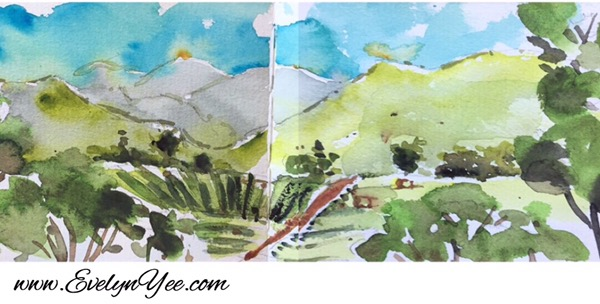 Tasmania scene watercolour by Evelyn Yee