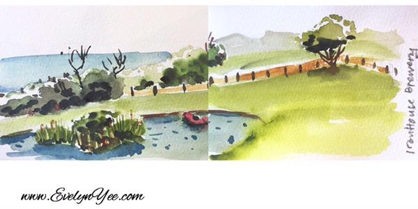 Tasmania scene watercolour by Evelyn Yee