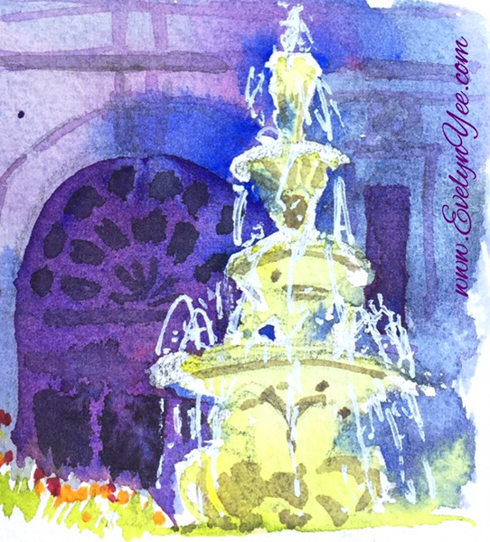Royal Exhibition Building in watercolour by Evelyn Yee