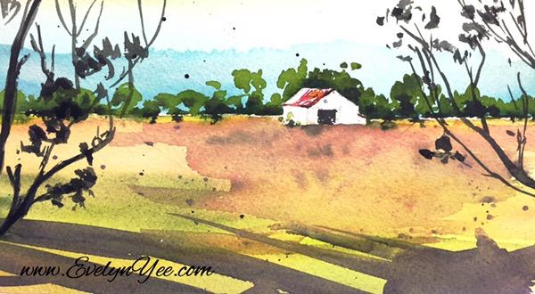 Farm watercolour by Evelyn Yee