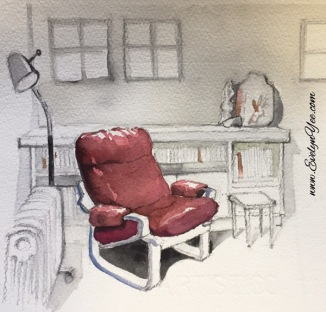 Watercolour chair by Evelyn Yee