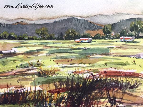 Farm in watercolour by Evelyn Yee