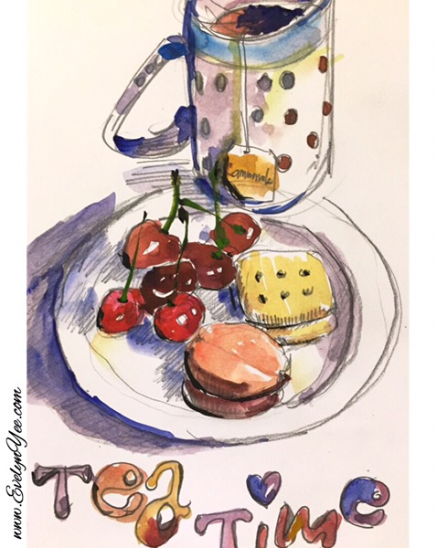 Tea time watercolour by Evelyn Yee