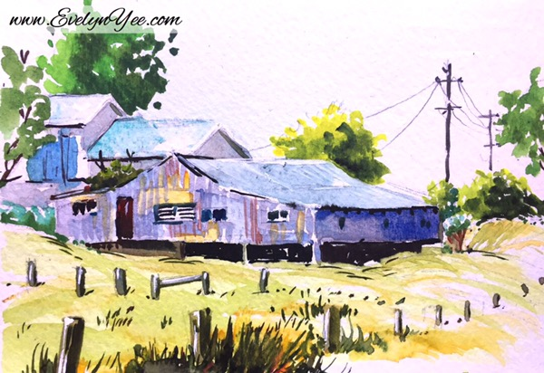 Farm houses watercolour by Evelyn Yee