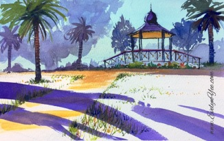 Catani Gardens watercolour landscape by Evelyn Yee