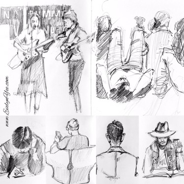 People in pencil - sketches by Evelyn Yee