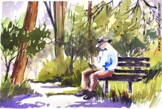 Landscape in watercolour by Evelyn Yee
