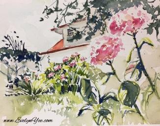 Flowers in a garden by Evelyn Yee