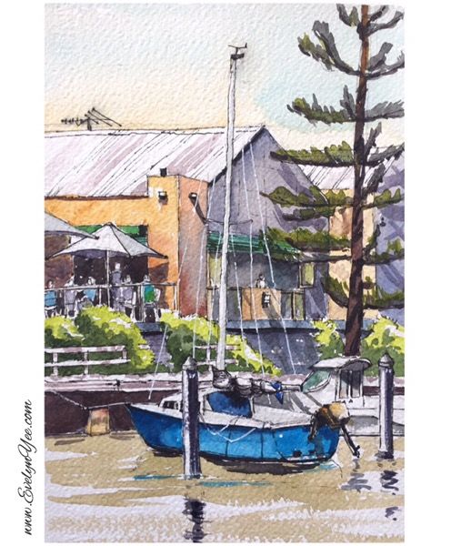 Boats in watercolour by Evelyn Yee